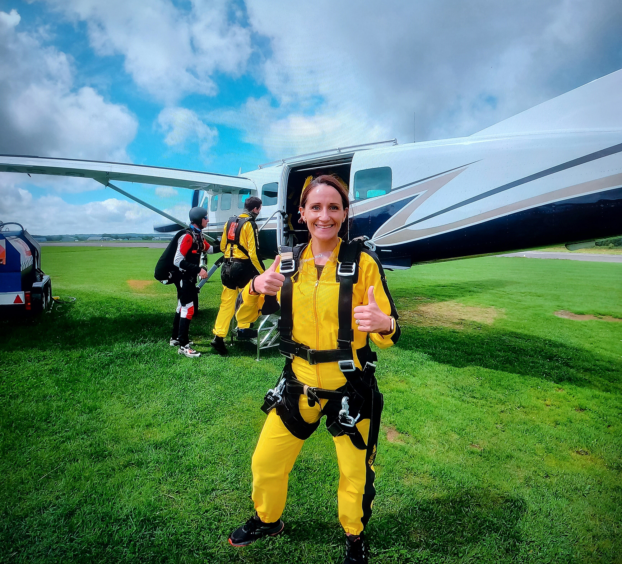 Amy skydives to support the DPT Charity's Little Something Fund