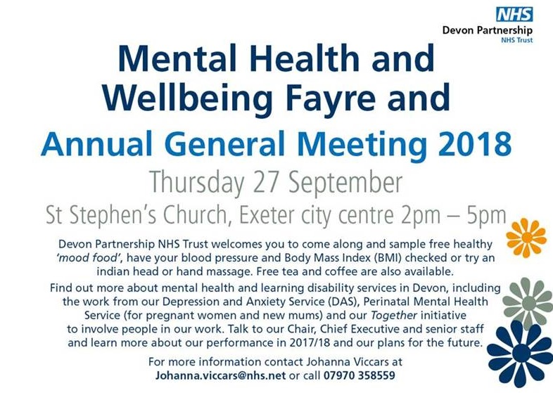 Come along to our Mental Health and Wellbeing Fayre and AGM 2018
