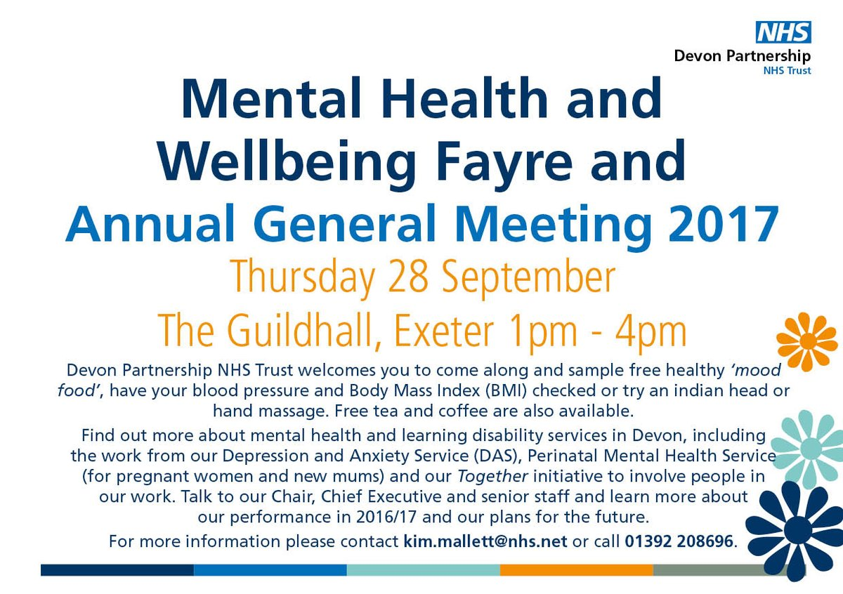 Come along to our Mental Health Fayre and AGM today
