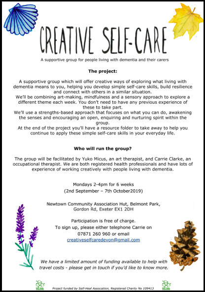 New creativity based support group for people with dementia