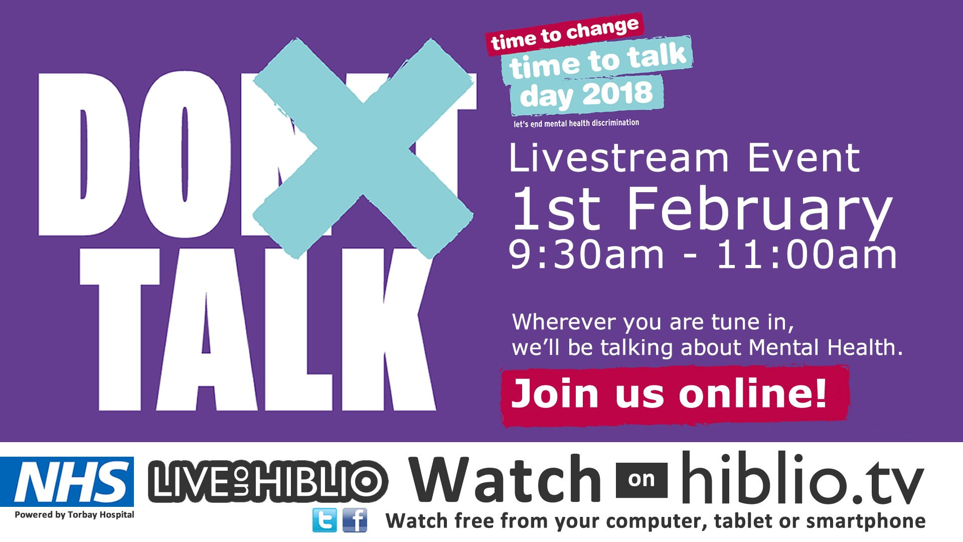 It's Time to Talk Day - watch the live stream