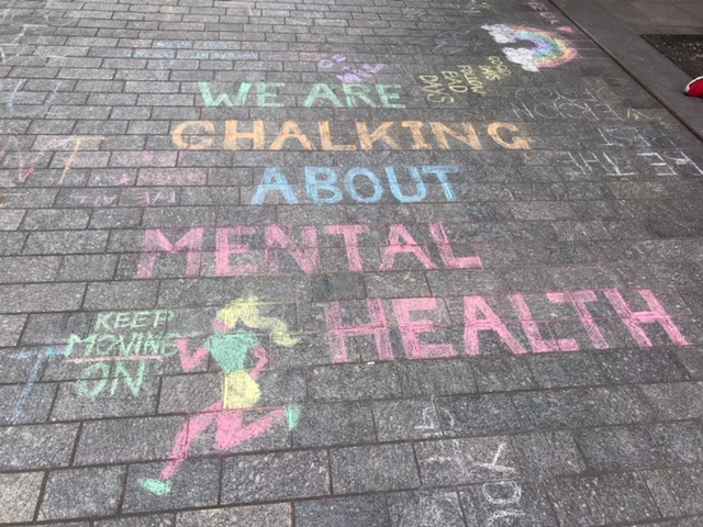Staff at the Additional Support Unit 'chalk about mental health'